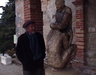 Nigel Konstam with his carving of the prodigal son