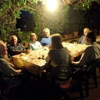 Workshop group enjoying a quiet supper on the terrace