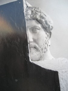 Hadrian with his nose in the corner of the block