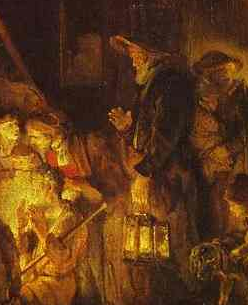 The woman's hat and lantern are carried by the tall bearded man behind her in the National Gallery Adoration