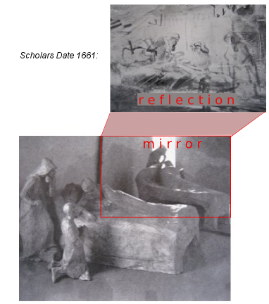 "The photo is of a maquette to represent Rembrandt's studio set up with live models and a mirror for his series of drawings of Isaac and Jacob. Below is a drawing that scholars have dated 1652 ( Rembrandt's classical style) and above a drawing they date 1661 (his mature style). The photo demonstrates how both were drawn from the same seat in the studio, under identical lighting conditions and very nearly the same group of models, only Rebeccah has moved. Common sense suggests they were drawn one after the other- not after a gap of 9 years.  Clearly the style of the two drawings is very different but the difference can be very well explained by Rembrandt's differing response to reality (below) and reflection in a dim mirror (above). This same difference has been demonstrated many times in Rembrandt's work. eg. The Adoration of the Shepherds, The Dismissal of Hagar and this series of drawings of death bed scenes.  Konstam's article ""Rembrandt's Use of Models and Mirrors"" was published in The Burlington Magazine in February 1977. That article invalidated stylistic criticism but the scholars continue to destroy Rembrandt and waste everybody's time with their out-dated theories."