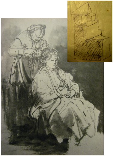 Rembrandt's drawing B395 with geometric diagram