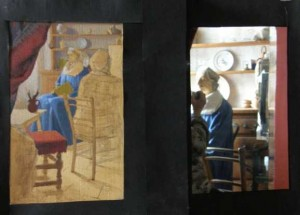 the artist's task is to mentally compress and adjust this tonal range down a series of tonal notches to that which his paints can span to produce the same scene, maintaining all the time the delicate relationships between all the middle tones. Here we see the painting (left) and the reduced image in the second mirror (right).