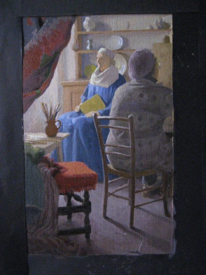 Anne's Vermeer, all but finished.(26 X 16cm) oil on canvas