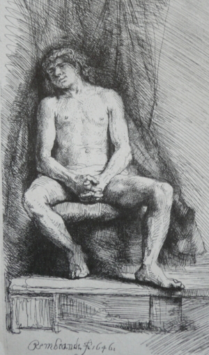 Etching of young man leaning