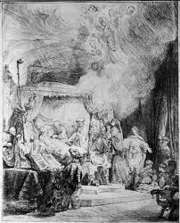 Death of the Virgin - Etching by Rembrandt