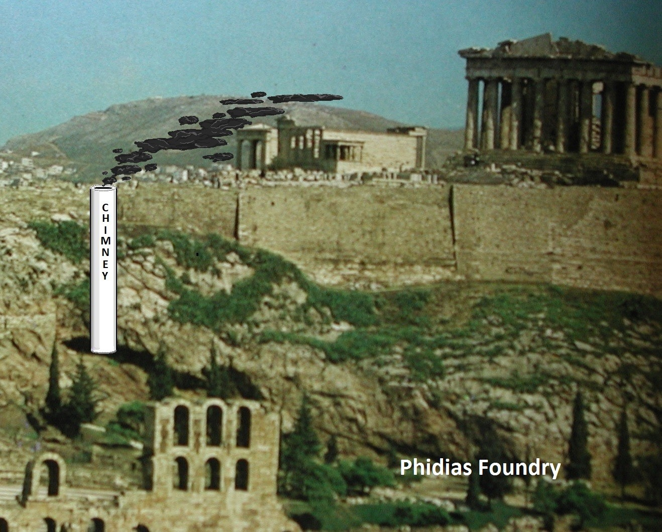Parthenon and chimney